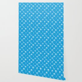 Oktoberfest Bavarian October Beer Festival Motifs in Bavarian Blue Wallpaper