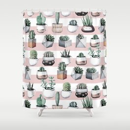 Potted Cactus Stripes Pink Rose Gold Shower Curtain