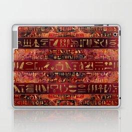 Egyptian hieroglyphs gold on red painted texture Laptop & iPad Skin