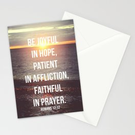 Be Joyful In Hope, Patient In Affliction, Faithful In Prayer - Romans 12:12 - Bible Quote - Inspirat Stationery Cards