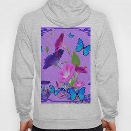 Blue Morning Glories Butterfly Patterns Lavender Art Hoody