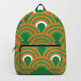 retro sixties inspired fan pattern in green and orange Backpack