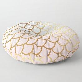 Pink Gradient And Gold Foil MermaidScales - Mermaid Scales Floor Pillow