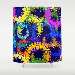 Texture of bright colorful and blue gears and laurel wreaths in kaleidoscope style on a dark blue ba Shower Curtain