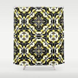 black yellow gray and white geometric Shower Curtain