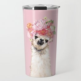 Llama with Flower Crown in Pink Travel Mug