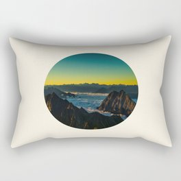Yellow & Teal Turquoise Ombre Sunrise over Mountain Range Rectangular Pillow