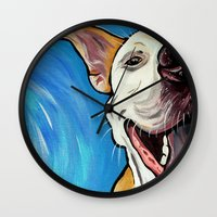 pit bull Wall Clocks featuring Smiling Pit Bull  by WOOF Factory