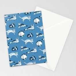 Cats, cats, cats pattern in blue palette Stationery Cards