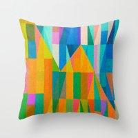 climbing Throw Pillows featuring By Climbing Colors by Fernando Vieira