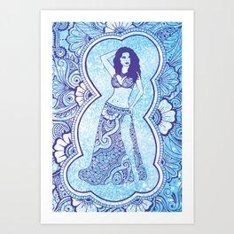Henna Belly Dancer - blue glitter Art Print