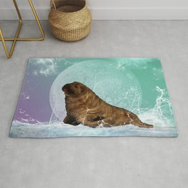 Cute  walrus with water splash Rug
