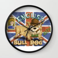 english bulldog Wall Clocks featuring English Bulldog by Brian Raszka Art & Illustration