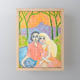 Couple in Love with Blue Dog Framed Mini Art Print