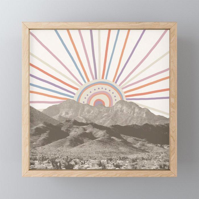 Bohemian Tribal Sun / Abstract Vintage Mountain Happy Summer Vibes Retro Colorful Pastel Sky Artwork Framed Mini Art Print
