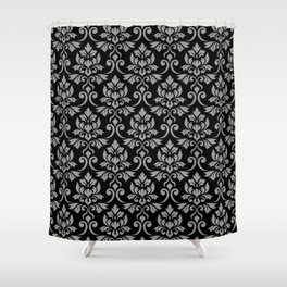 Feuille Damask Pattern Gray on Black Shower Curtain