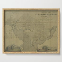 Vintage Map of Washington D.C. (1820) Serving Tray