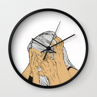 introvert Wall Clocks featuring Introvert 9 by Heidi Banford