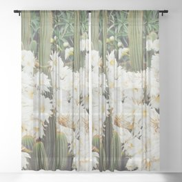 Cactus and Flowers Sheer Curtain