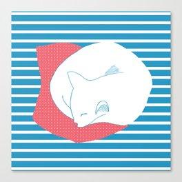 Sleeping Cat- blue Canvas Print