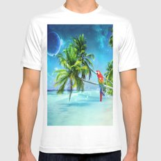 Parrot in the beach White MEDIUM Mens Fitted Tee