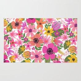 Hello floral typography Rug
