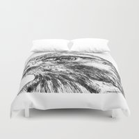 hawk Duvet Covers featuring Hawk by Emma Dowling