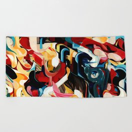 Expressive Abstract Composition painting Beach Towel