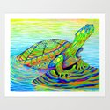 Colorful Psychedelic Neon Painted Turtle Rainbow Turtle by psychedeliczen