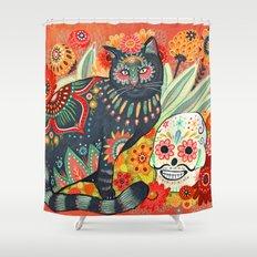 Dia De Los Muertos Cat Shower Curtain