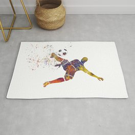 Soccer player in watercolor 12 Rug