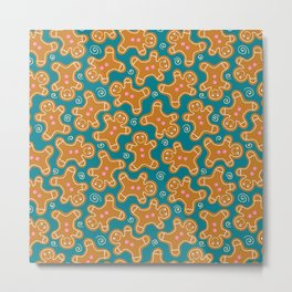 Gingerbread Men on Teal Metal Print