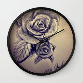 Pen Rose Wall Clock