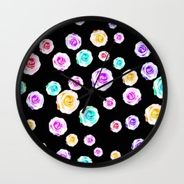 colorful roses in pink purple green yellow with black background Wall Clock