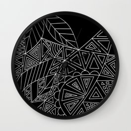 Abstract black and white pattern. Orange juice . Wall Clock