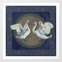 Celtic Swans Art Print
