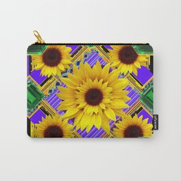 GREEN EMERALDS YELLOW SUNFLOWERS ART Carry-All Pouch