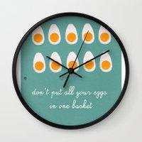 eggs Wall Clocks featuring eggs by Michela Buttignol