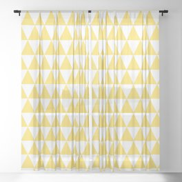 Yellow and White Triangle Pattern Sheer Curtain