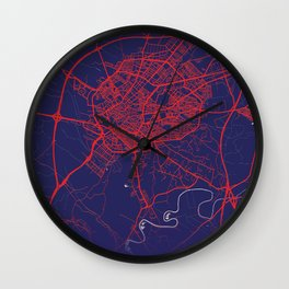 Jerez de la Frontera, Spain, Blue, White, City, Map Wall Clock