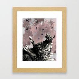 godzilla attack Framed Art Print