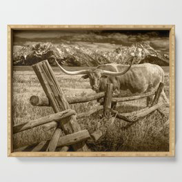 Texas Longhorn Steer by an Old Wooden Fence in Sepia Tone Serving Tray