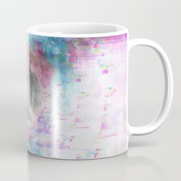 Moon Glitch Echos - Magenta Blue Coffee Mug
