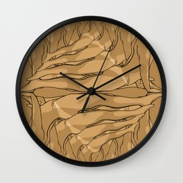 Yoga by the beach Wall Clock