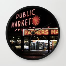 Pike Place Farmers Market - at night Wall Clock
