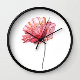 Poppy, Watercolor Flower, Watercolor Poppy, poppy art, illustration Wall Clock