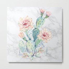 Watercolor Cactus Marble Metal Print
