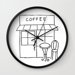 Little Coffee House // Cafe Sketch Wall Clock