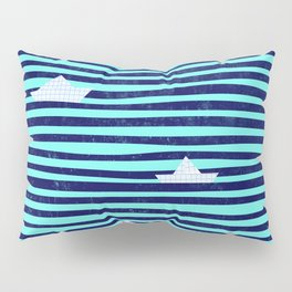 Origami boat on the blue sea Pillow Sham