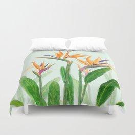 bird of paradise flower painting Duvet Cover